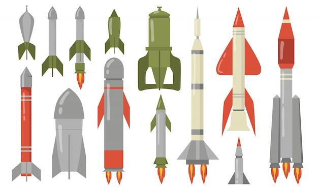 各種弾道ミサイルフラットセット 無料ベクター