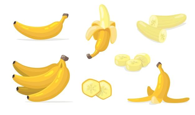 様々なバナナフルーツフラットアイコンセット。漫画のエキゾチックな天然デザート分離ベクトルイラスト集。 無料ベクター