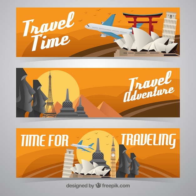 Various banners of monuments in flat\ design