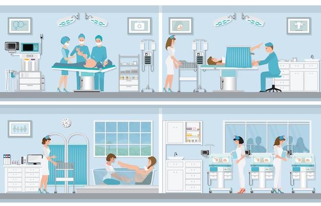 Various birthing of pregnant woman. Premium Vector