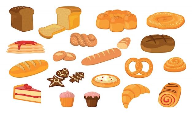 다양 한 빵 평면 벡터 컬렉션 무료 벡터