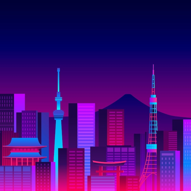 Various buildings tokyo skyline with neon lights Free Vector