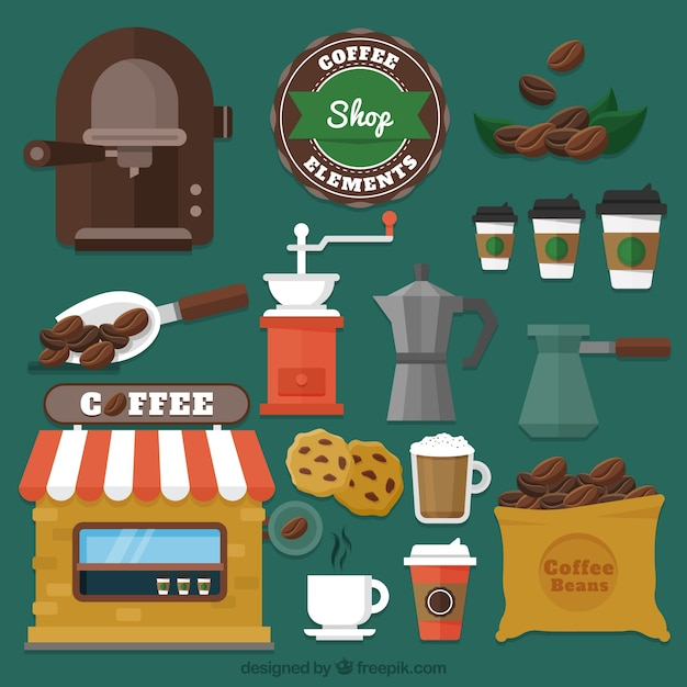 Various cafe elements in flat design Free Vector