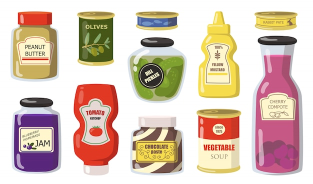 Various canned goods from supermarket flat set Free Vector