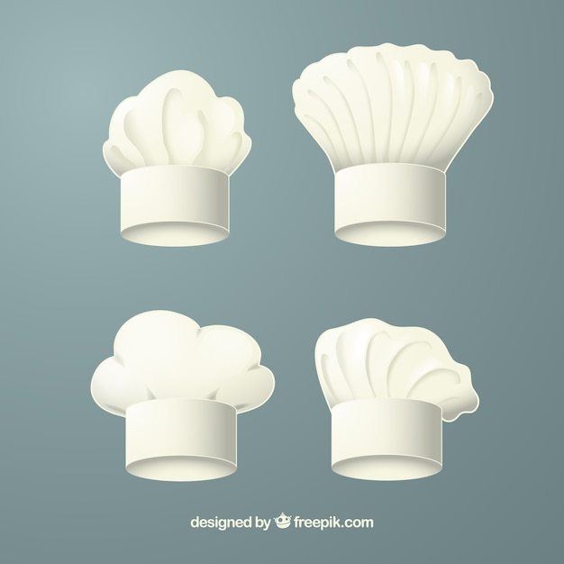 Various chef hats in realistic design Free Vector