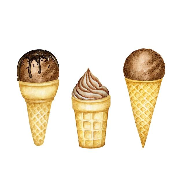 ワッフルコーンセットにチョコレートで飾られた様々なチョコレートアイスクリームスクープ。 Premiumベクター