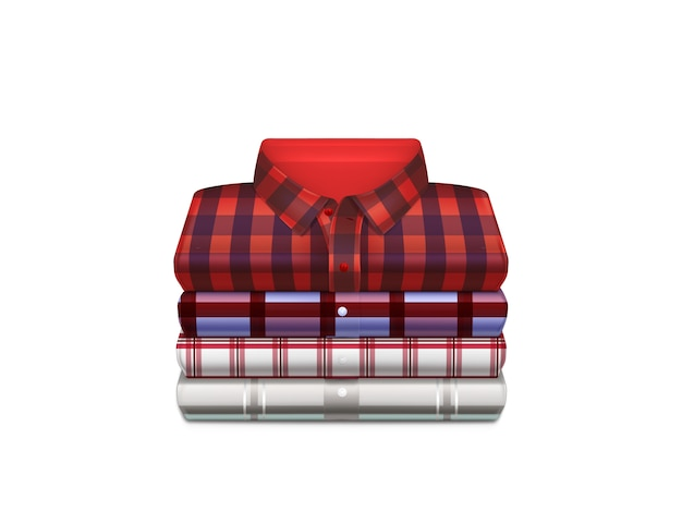Various color, checkered cotton shirts folded in stack Free Vector