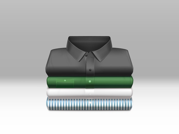 Various color, clean mens shirts, ironed and folded in stack Free Vector