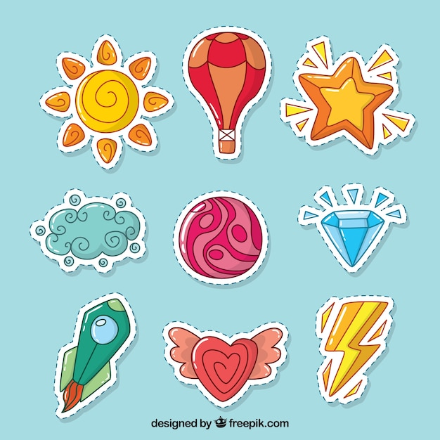 Various colored hand drawn stickers