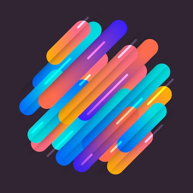 다양한 색상의 둥근 모양이 대각선 리듬으로 선입니다. 동적 구성의 그림입니다. 모션 그래픽 기하학적 요소. 프리미엄 벡터