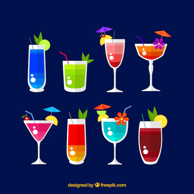 Various colorful cocktails in flat design Free Vector
