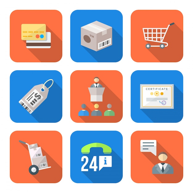 Various colorful flat style business distribution marketing process icons set Premium Vector