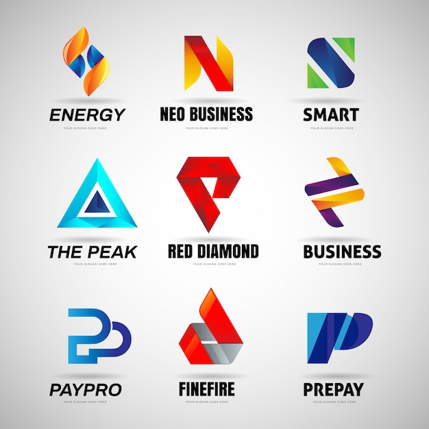 Various colorful letter logo business collection Premium Vector