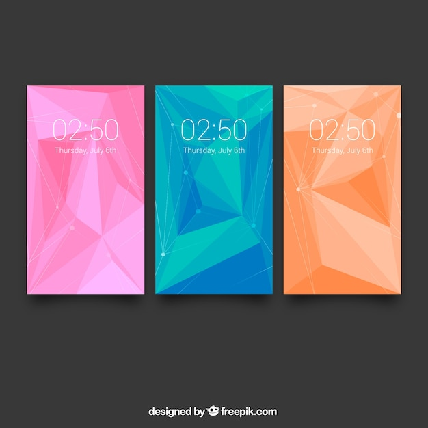 Various colorful mobile wallpapers with abstract shapes