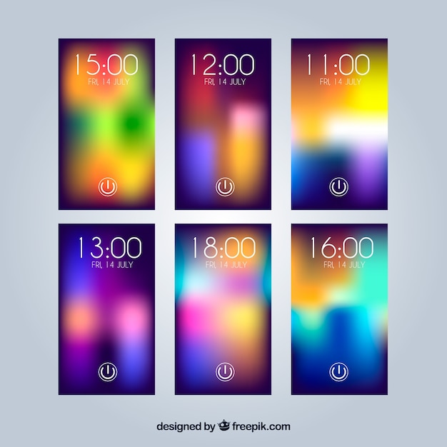 Various colorful unfocused wallpapers for mobile