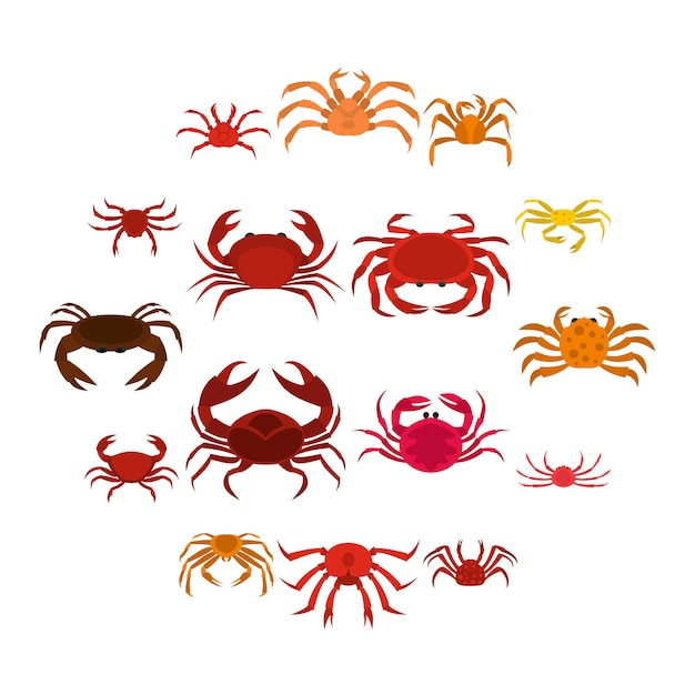 Various crab icons set in flat style Premium Vector