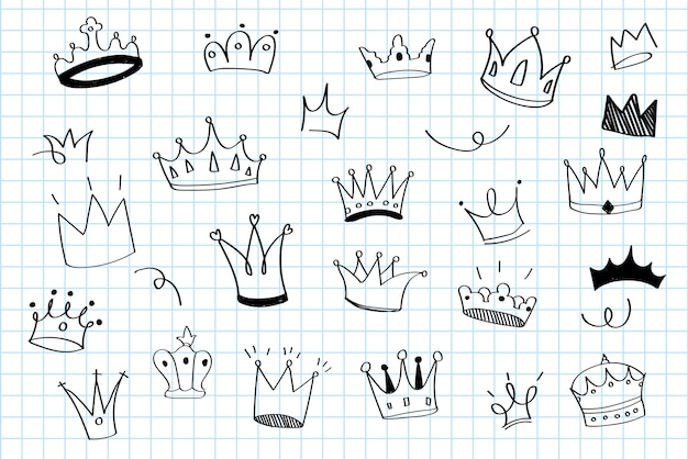 Various crowns doodle illustration vector Free Vector