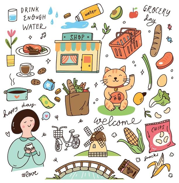 Various cute doodles elements Premium Vector