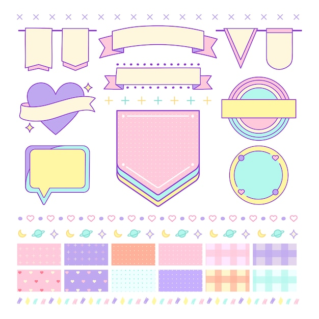 Various cute and girly design element vectors Free Vector