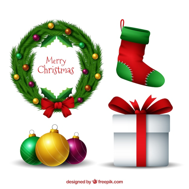 Various decorative christmas elements