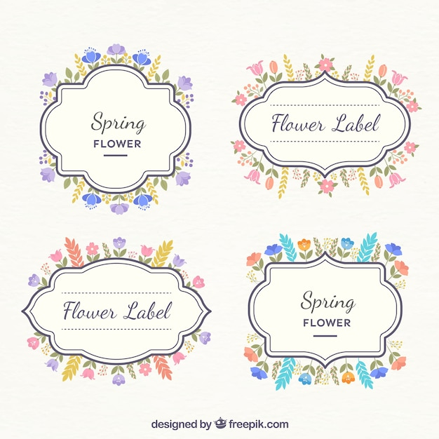 Various Decorative Labels With Colored Flowers Vector Free
