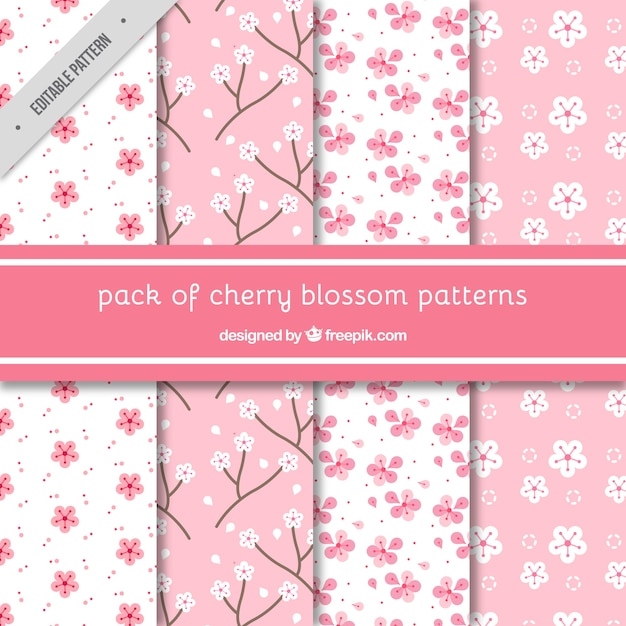 Various decorative patterns of cherry blossoms Free Vector