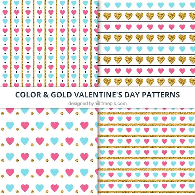 Various decorative valentine's patterns Free Vector