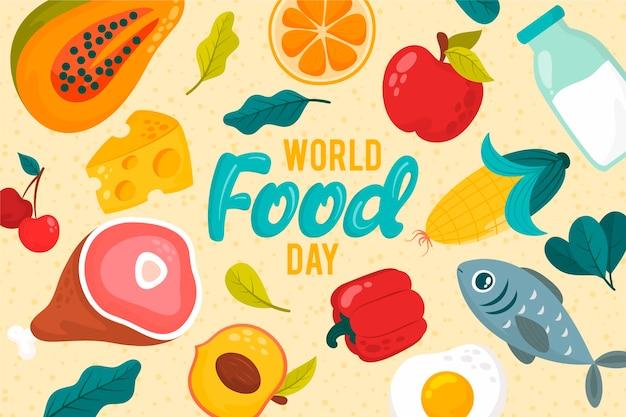 さまざまなおいしい料理の世界の食べ物の日のコンセプト 無料ベクター