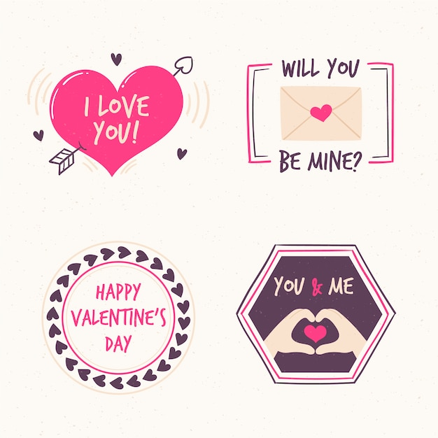 バレンタインデーのラベルのさまざまなデザイン 無料ベクター