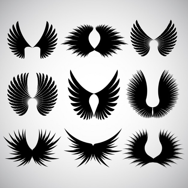 Various different designs of wing silhoeuttes Free Vector