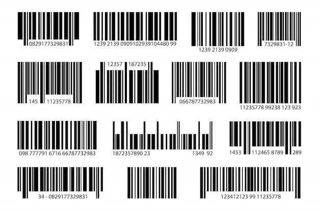 Набор различных цифровых штрих-кодов Бесплатные векторы