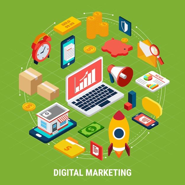 Various digital marketing on green 3d illustration Free Vector