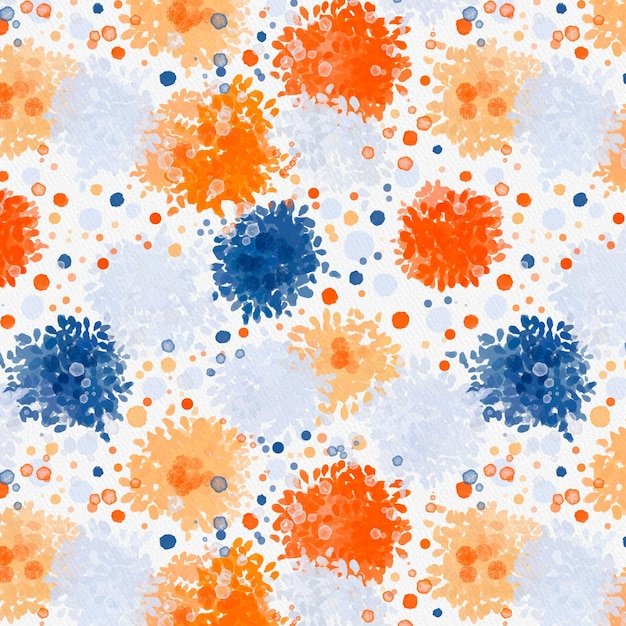 さまざまなドットサイズの抽象的な水彩画のシームレスなパターン 無料ベクター