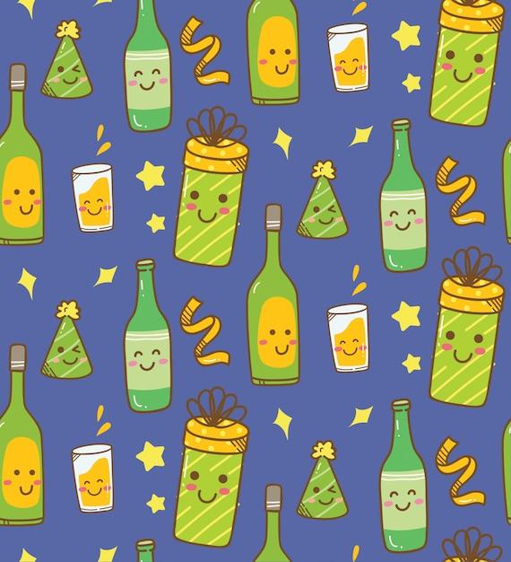 Various drink kawaii background Premium Vector