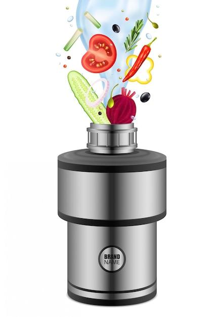 白の食品廃棄物ディスポーザー現実的な組成物に落ちる水で様々な食べる製品 無料ベクター