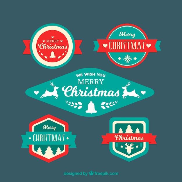 Various elegant retro christmas badges