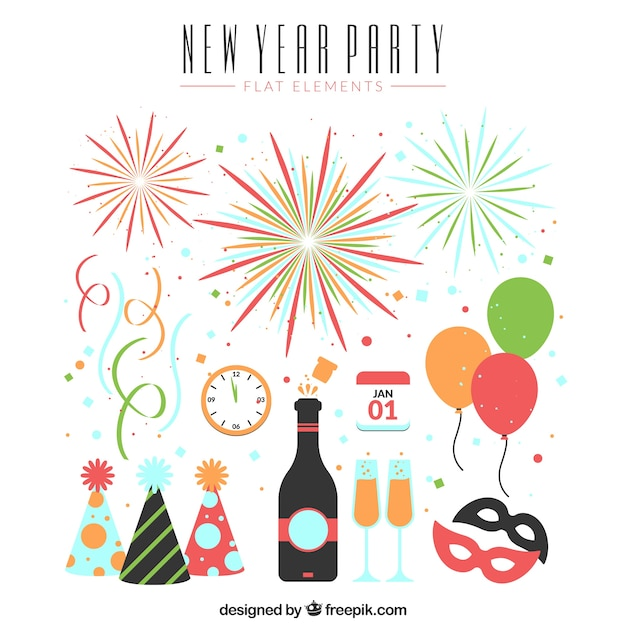 Various elements of new year's party Free Vector
