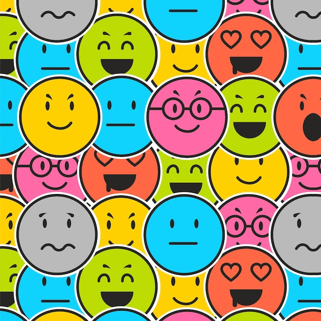 Various emoticons pattern template Premium Vector