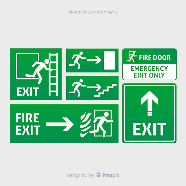 Various exit signs Free Vector