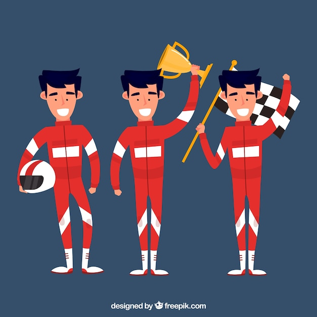 Various f1 racing characters Free Vector