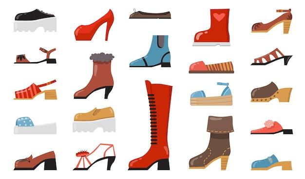 Insieme dell'icona piatto di varie calzature alla moda. scarpe eleganti e casual alla moda del fumetto, stivali stagionali, raccolta dell'illustrazione di vettore isolata sandali estivi. Vettore gratuito