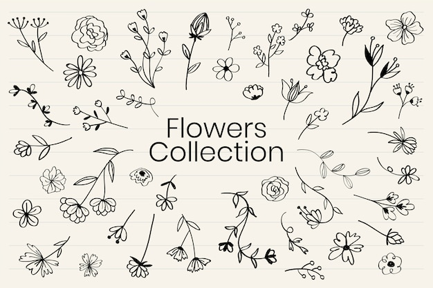 Various flowers doodle collection vector Vector | Free Download