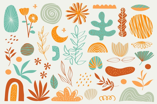 Various flowers and plants organic shapes background Free Vector