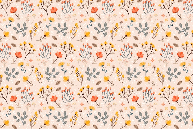 さまざまな花のシームレスなパターン印刷の背景 無料ベクター