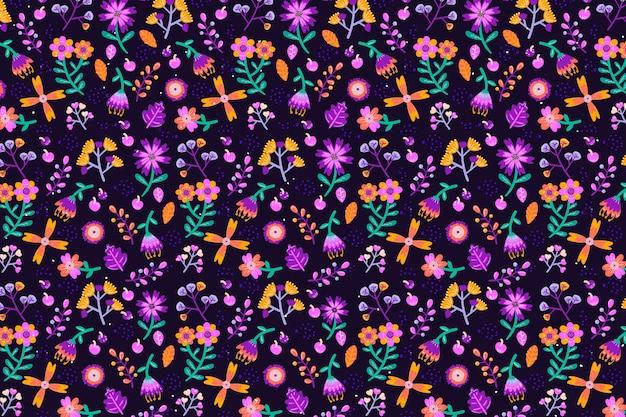 Различные цветы бесшовные фон для печати Бесплатные векторы