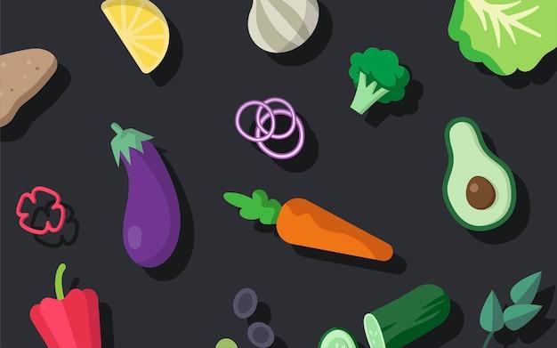 Различные свежие векторные овощные овощи Бесплатные векторы
