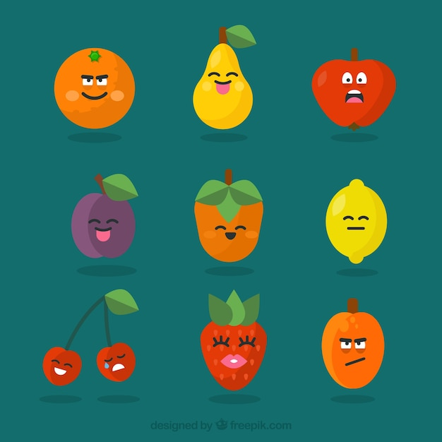 Various fruit characters with facial expressions Free Vector