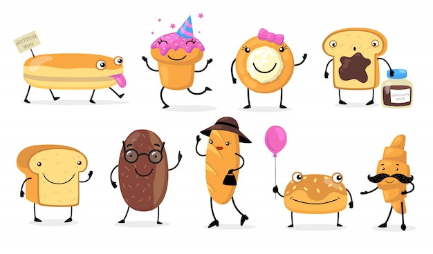 Various funny bread characters Free Vector