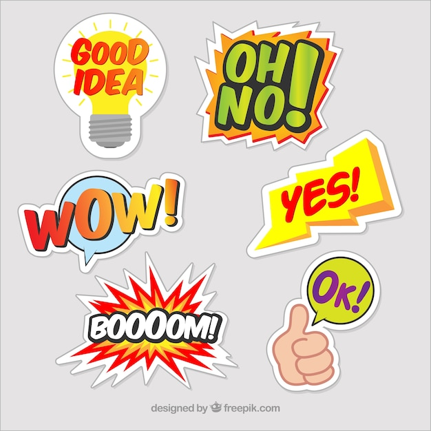 Various funny decorative stickers Free Vector