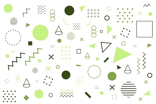 Various geometrical green shapes background Free Vector